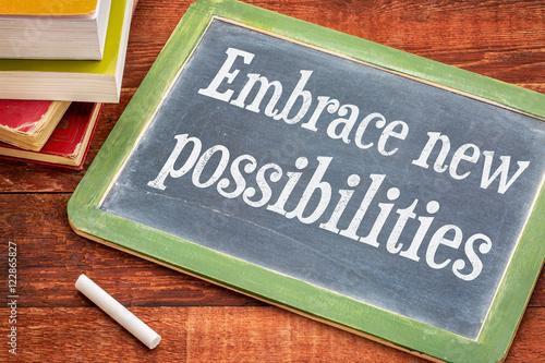 Fotografie, Obraz  Embrace new possibilities on blackboard
