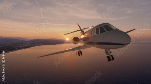 Türaufkleber Flugzeug Private jet / 3d render