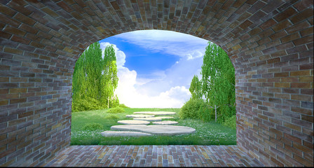 FototapetaBeautiful 3D forest view at the end of tunnel