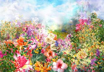 Fototapeta Abstrakcja Abstract flowers watercolor painting. Spring multicolored flowers