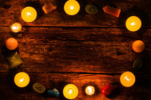 Candles, Stones For Divination And Runes On Wooden Background Mockup