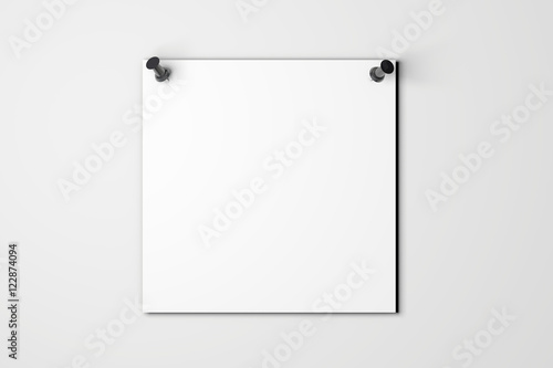 Fotografie, Obraz  Blank white poster pinned to a plain wall with pushpins