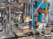 Detail of industrial machine working in workshop