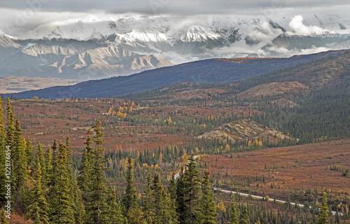 Fotobehang Natuur Park Alaska scenic road into the landscape.