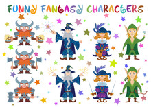 Fantasy Heroes, Elf Archer With Bow And Flower, Dwarf Warrior With Axes And Beer, Cavalier With Sabers And Mandolin And Wizard With Lightings And Fireworks, Funny Comic Cartoon Characters Set. Vector
