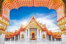Marble Temple, Wat Benchamabophit Dusitvanaram In Bangkok, Thailand