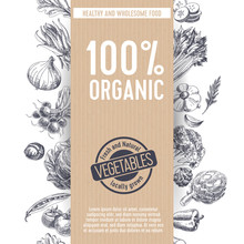 Retro Organic Food Background.