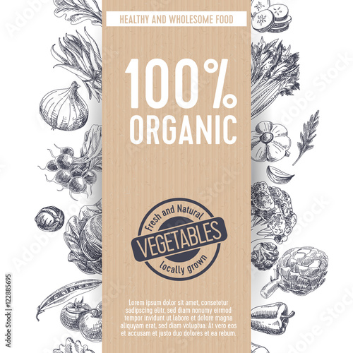 Fotografiet  Retro organic food background.