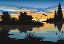 Landscape. Sunset On A Lake.