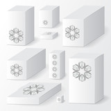 set of cardboard package. isolated box on the grey background. m