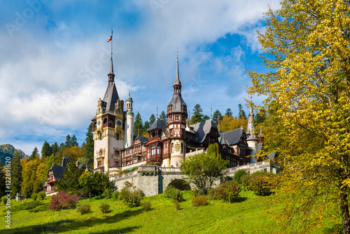 Photo Stands Eastern Europe Peles castle Sinaia in autumn season, Transylvania, Romania protected by Unesco World Heritage Site