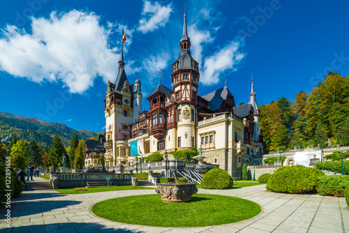 Poster Kasteel Peles castle Sinaia in autumn season, Transylvania, Romania protected by Unesco World Heritage Site