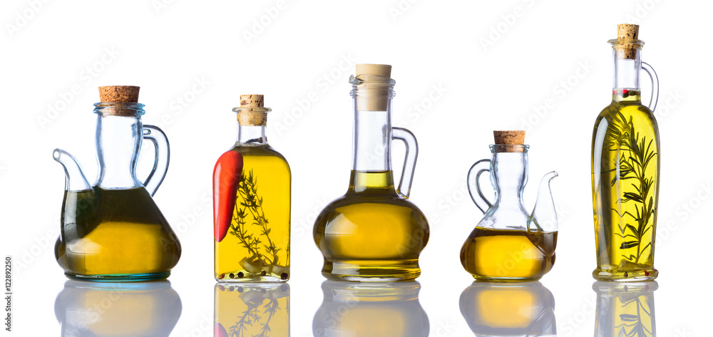 Fototapety, obrazy: Bottles of Cooking Oils on White Background