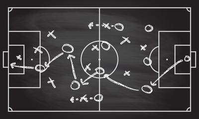Nogomet ili strateška strategija nogometne igre na teksturi table s kredom utrljanom pozadinom. Sportski infografski element.