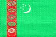 Leinwanddruck Bild - Flag of Turkmenistan brick wall texture background