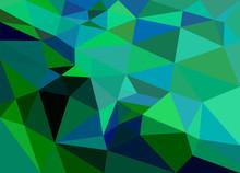 Polygon Background Green Emerald
