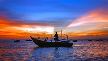 Sea Sunset With Boat Silhouette, Man