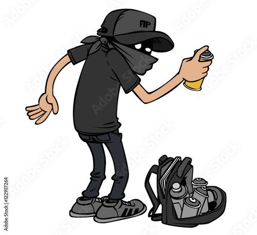 Foto op Aluminium Graffiti Cartoon graffiti artist at work