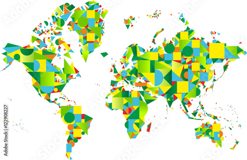 Colorful abstract world map in green colors