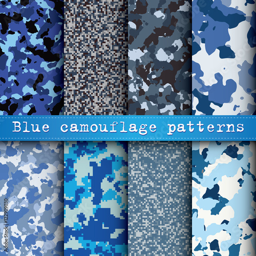 Set of 8 blue camouflage patterns vector - Buy this stock