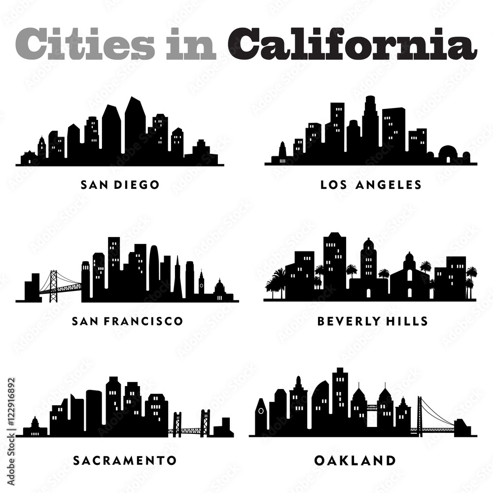 Photo & Art Print City Skyline Cityscape of Cities in California ...