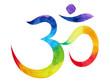 Leinwanddruck Bild - 7 color of chakra om, aum symbol concept, watercolor painting hand drawn