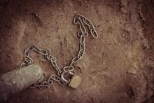 Chain Locked On The Ground Vintage Tone.