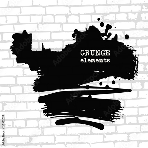Wall Murals Newspapers Grenade hole on brick wall vector illustration.