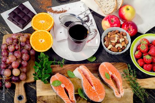 Food rich in antioxidant. Wallpaper Mural