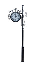 Street Clock On A Pole. Isolated On White Background. Rare Metal Pole With A Clock.