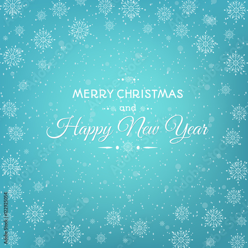 christmas new year greeting card template with abstract snowflakes round frame on bright blue background