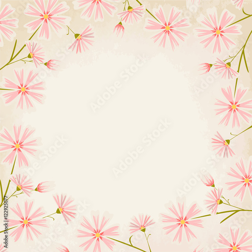 Elegant Pink Daisy Flowers Round Border Design Element On Vintage Paper Background