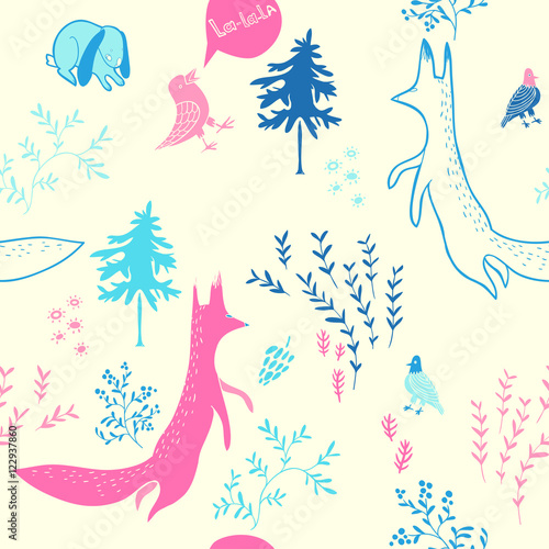 Cotton fabric Cute animals in forest. Seamless pattern. Hand drawn illustration with fox,bunny, birds and floral elements. Natural design vector background.
