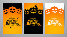 Vector Illustration: Three Vertical Abstract Template Design Layout Of Poster Or Flyer With Handwritten Lettering Of Halloween, Pumpkins, Raven And Space For Text.