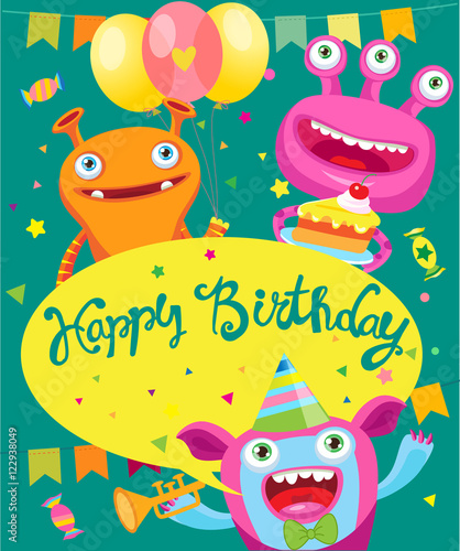 Monster Party Invitation Card Design Vector Cartoon Illustration Funny Birthday Greeting