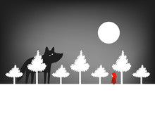 Little Red Riding Hood In The Forest, Vector Illustration