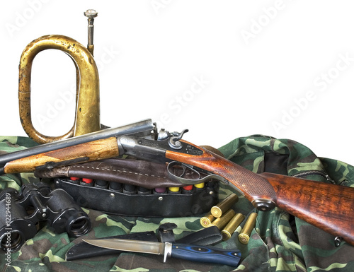 Foto op Canvas Jacht hunting equipment on white background