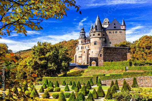 Romantic castle Buerresheim in autumn colours. Mayen, Germany