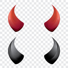 Vector Red And Black Devil Hor...