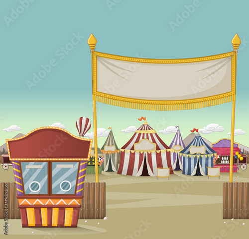 Ticket Booth On The Entrance Of A Retro Cartoon Circus With Tents Vintage Carnival Background