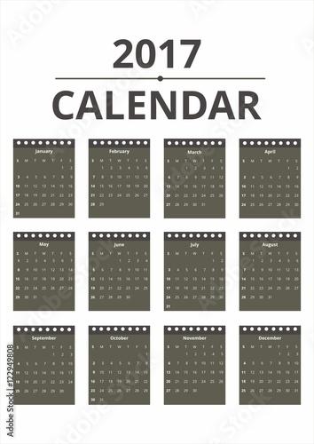 Poster Artificiel 2017 Calendar Clean Background Template