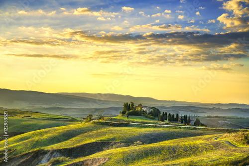 Tuinposter Zwavel geel Tuscany Maremma sunset. Trees, farmlands, hills and fields. Volt