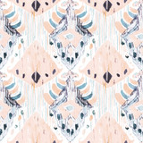 Ikat seamless bohemian ethnic pattern in watercolour style. - 122954416