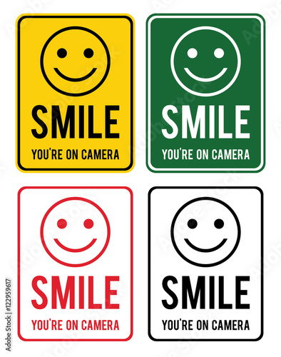 smile set of warning signs about the conduct of surveillance in