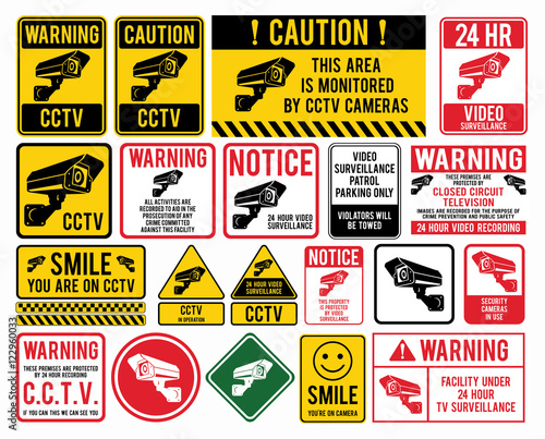 """Video surveillance signs. CCTV """"Closed Circuit Television"""" Signs"""