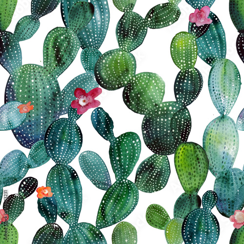Cadres-photo bureau Aquarelle la Nature Cactus pattern in watercolor style