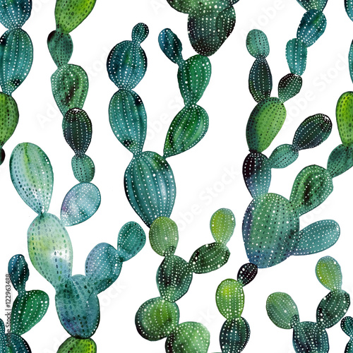 Printed kitchen splashbacks Watercolor Nature Cactus pattern in watercolor style