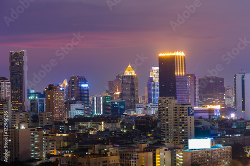 Poster Bordeaux Night city light with twilight sky background, Bangkok urban Thailand