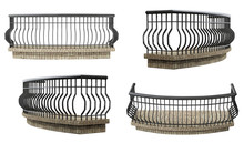 Decorative Balcony On A White Background Set. 3d Rendering.