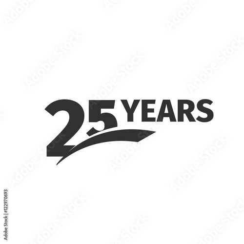 Isolated abstract black 25th anniversary logo on white background. 25 number logotype. Twenty-five years jubilee celebration icon. Twenty-fifth birthday emblem. Vector anniversary illustration. Fotomurales